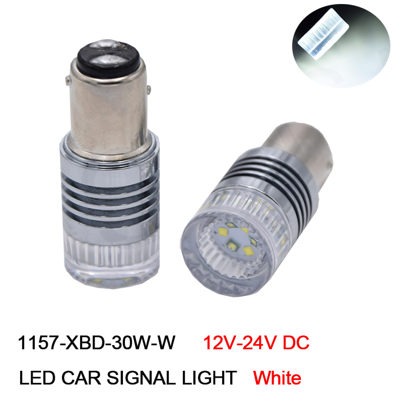 4Pcs White 1157 P21/5W LED Bay15d S25 XBD 30W High Power Car LED Tail Brake Stop Parking DRL Light Bulb 12V-24V DC Free Shipping