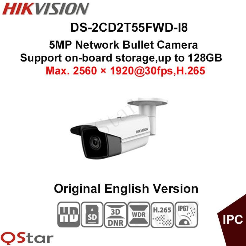 Hikvision Original English Version Surveillance Camera DS-2CD2T55FWD-I8 5MP Bullet IP Camera H.265 IP67 on-board storage IR 80m 2016 hikvision new arrive english version ip camera ds 2cd2t52 i5 5mp cctv camera 50m ir surveillance camera