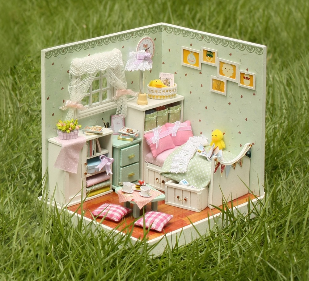 Elegant DIY Miniature Dollhouse With Furnitures LED 3D Wooden House Toys Handmade Birthday Gifts For Children F007 #D
