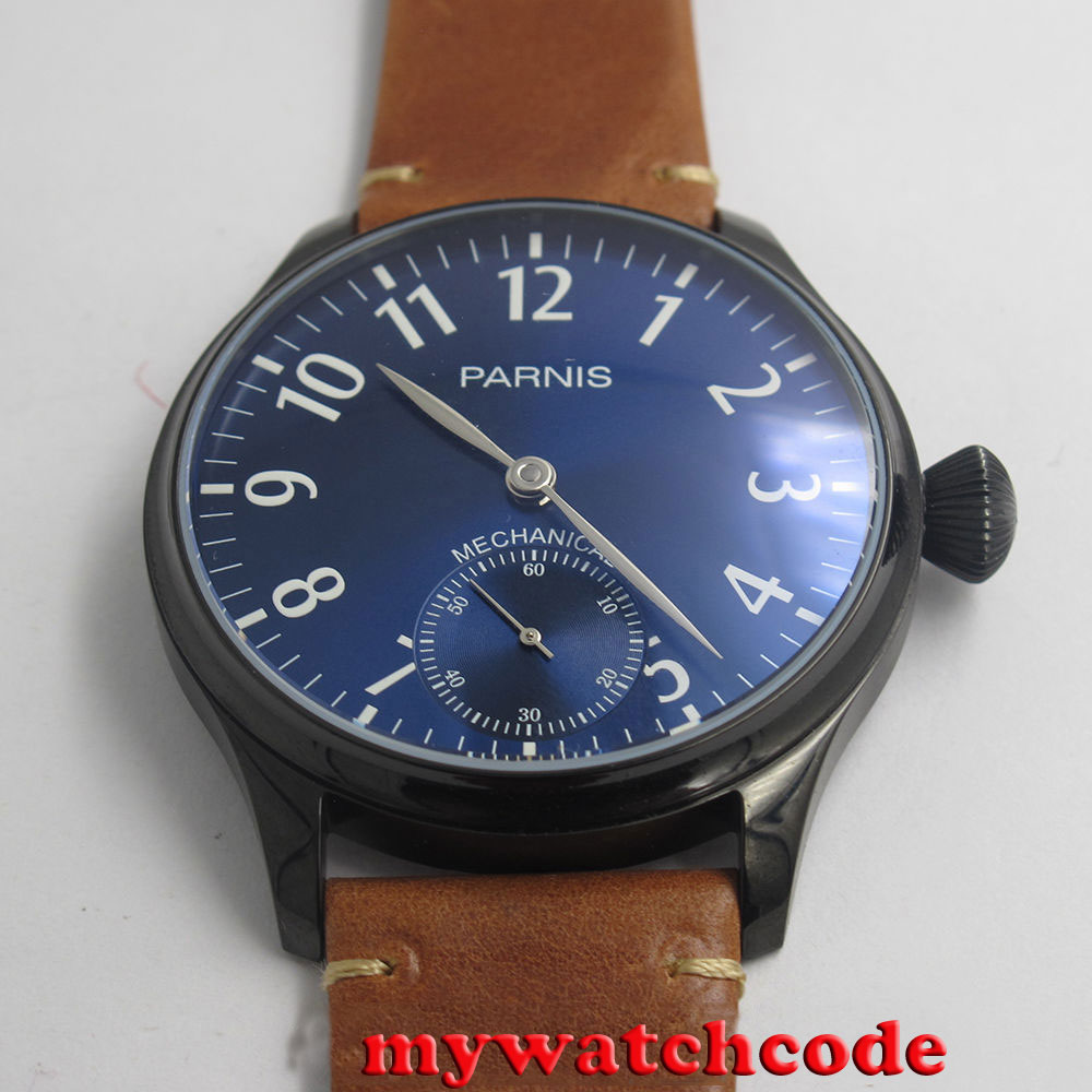 лучшая цена new arrive 44mm parnis blue dial hand winding 6497 mechanical mens watch P801B