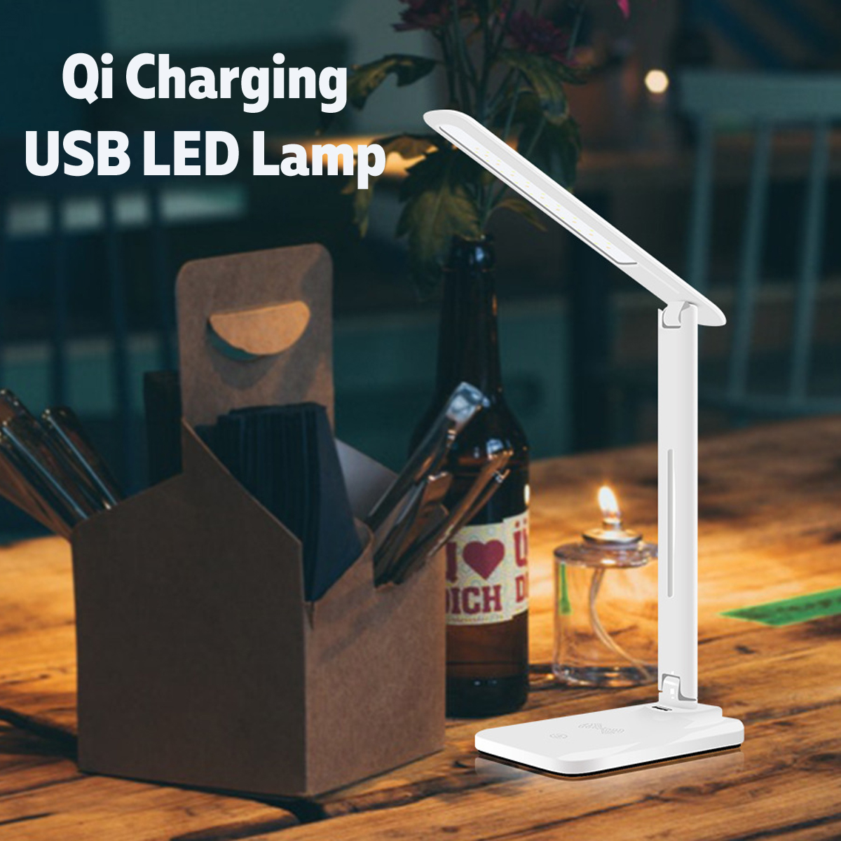 New Wireless Folding LED Desk Lamp Adjustable Eye Protection Wireless Table Lamp With USB Output Support Wireless Charging
