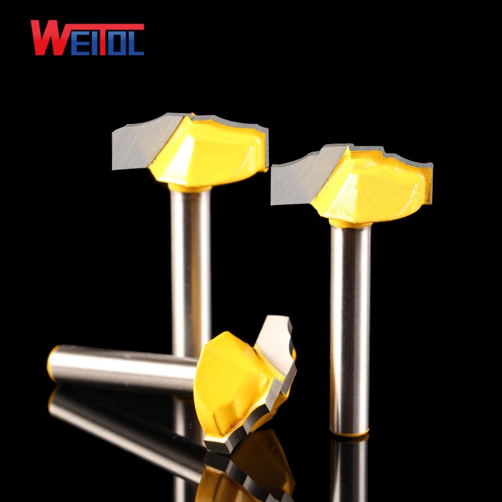 Weitol 1db 6.35mm luxus arany coler ajtó deszka vágó minta CNC metszet Router bit Trimmer Fogantyú faragó szerszámbetét