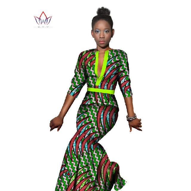2018 herbst Kleid Maxi Marke halbe hülse Kleider afrikanische ...