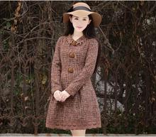 2016 Autumn And Winter Newretro Temperament Long Woolen Coat Coat Women's Plus Size Single Breasted Wool Jacket