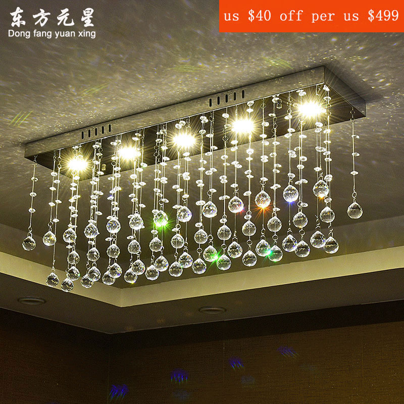 crystal pendant ligh modern minimalist crystal lamp LED rectangular bar living room dining room hallway light entrance lights a1 master bedroom living room lamp crystal pendant lights dining room lamp european style dual use fashion pendant lamps