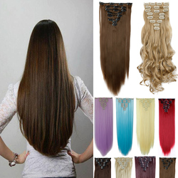 Free shipping clip in hair extension 26inch 8pcs set 170g no heat resistance straight hair clip.jpg 250x250