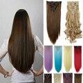 Frete Grátis Grampo na Extensão Do Cabelo 26 inch 8 pçs/set 170g nenhuma Resistência Ao Calor Reta Grampo de Cabelo Sintético Em Extensão Do cabelo