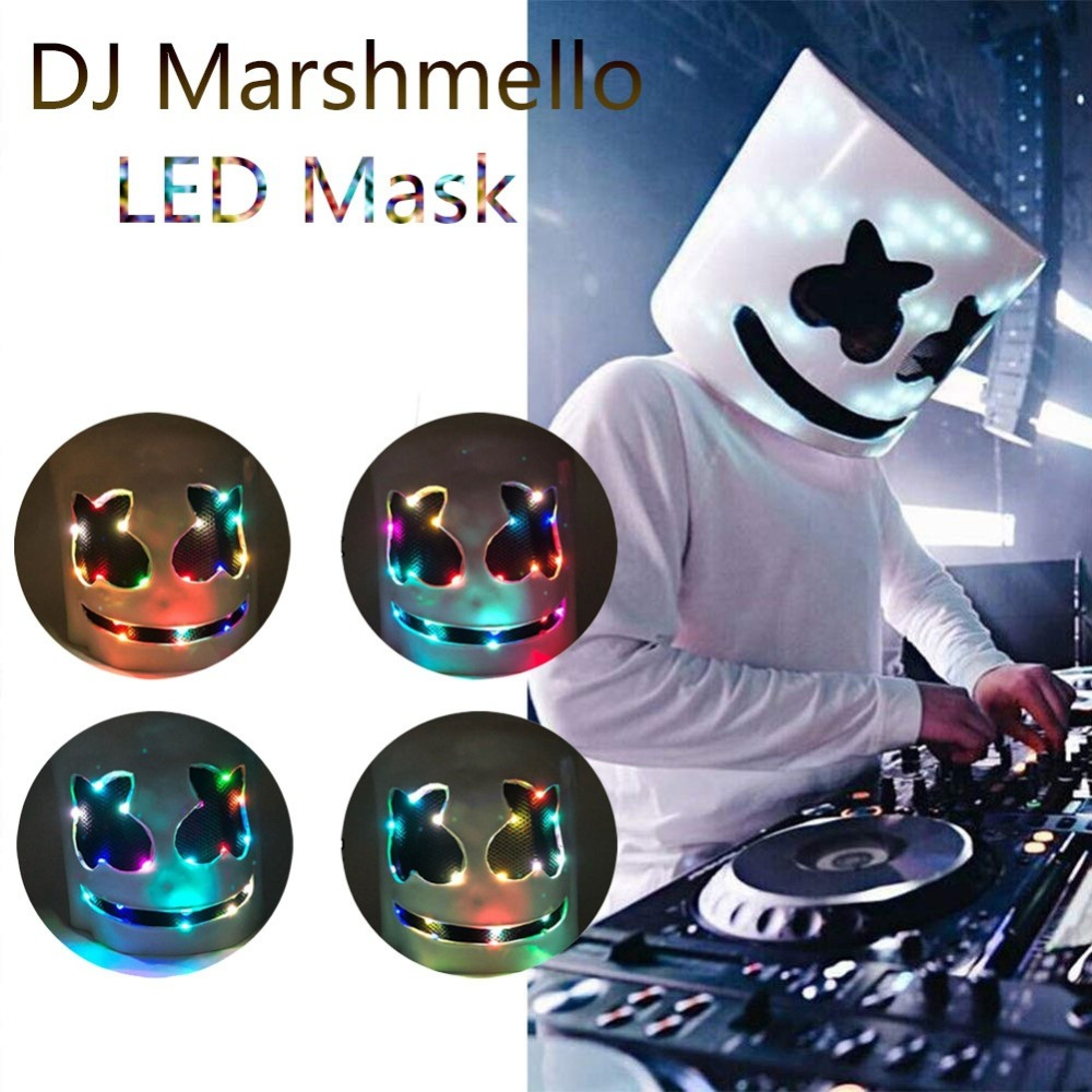 New DJ Marshmello Masks Cosplay Prop LED Luminous Helmet Mask Women Men Night Club Bar Pool Party Prop 2019 Latex Mask Carnival