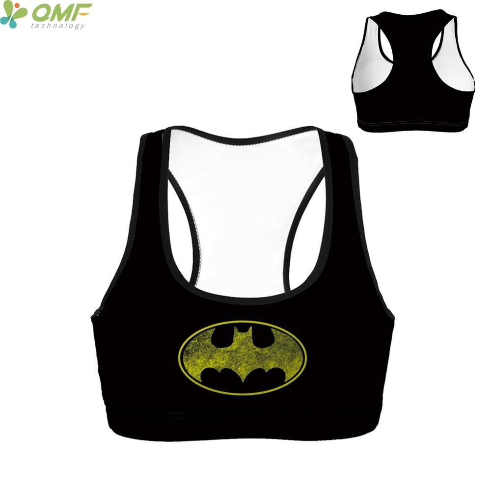 Prix pour Batman sport courir soutien-gorge le dark knight sport soutien-gorge rembourré sous-vêtements le hero batman gym exécution bras débardeur