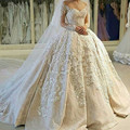 Saudi Arabia Romantic Long Sleeve Ball Gown Wedding Dresses 2017 Luxury Lace Appliques Sweetheart Bridal Gown Vestido De Novia