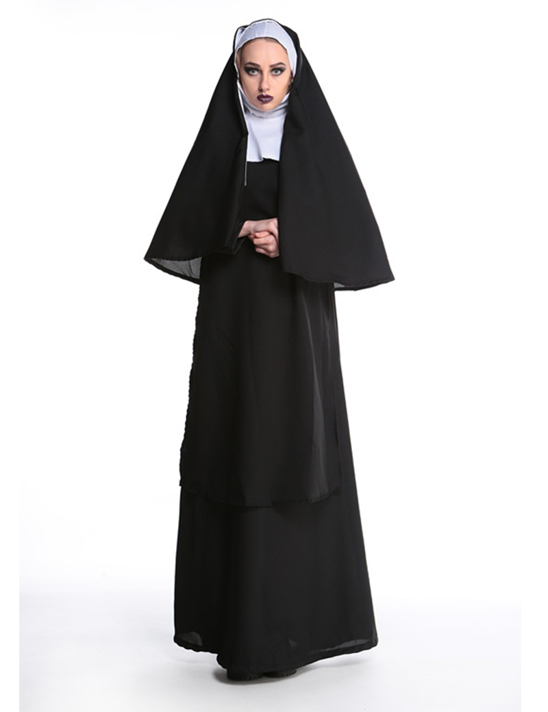 Black Nun Costume For Adult Women Sister Halloween Costume Cosplay Clothing Party Dress CS8261