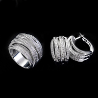 New Fashion Luxurious Cz Stone White Gold Color Plated Earring And Rings Sets For Women Wedding