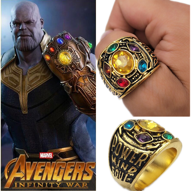 Marvel Avengers Thanos Infinity Gauntlet Power Ring Men Women Gold Rings With Six Crystal Fashion Jewelry Dropshipping