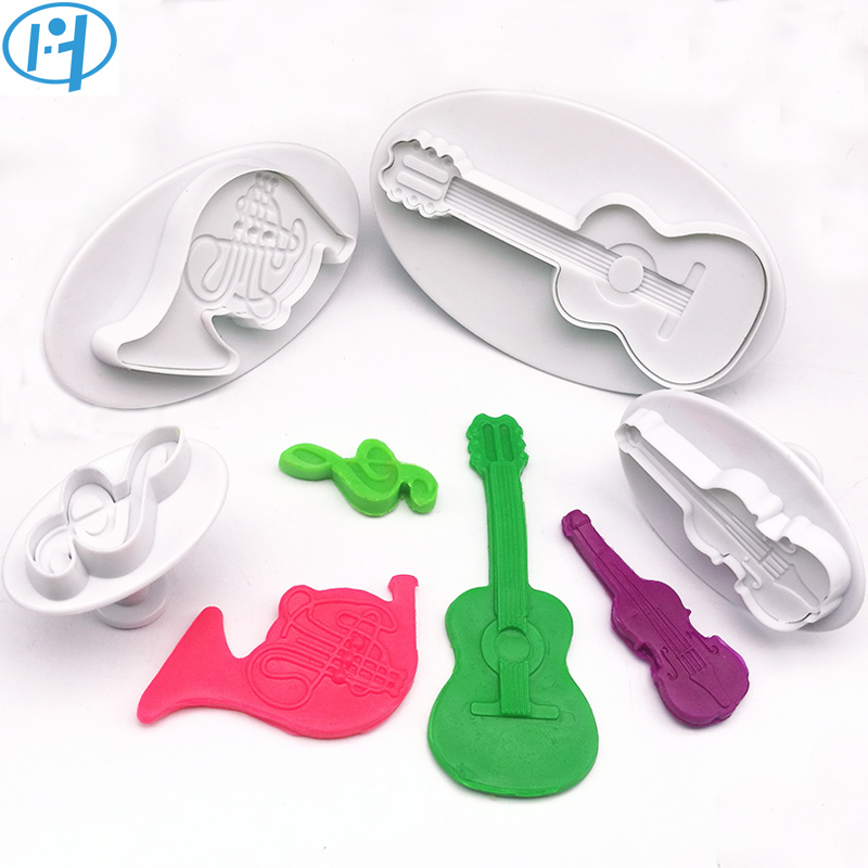 Home & Garden Kitchen,dining & Bar 4pcs Musical Instrument Cello Violin Tuba Music Note Plastic Plunger Cutter Cookie Embossing Cake Decorating Tool Fondant Mold