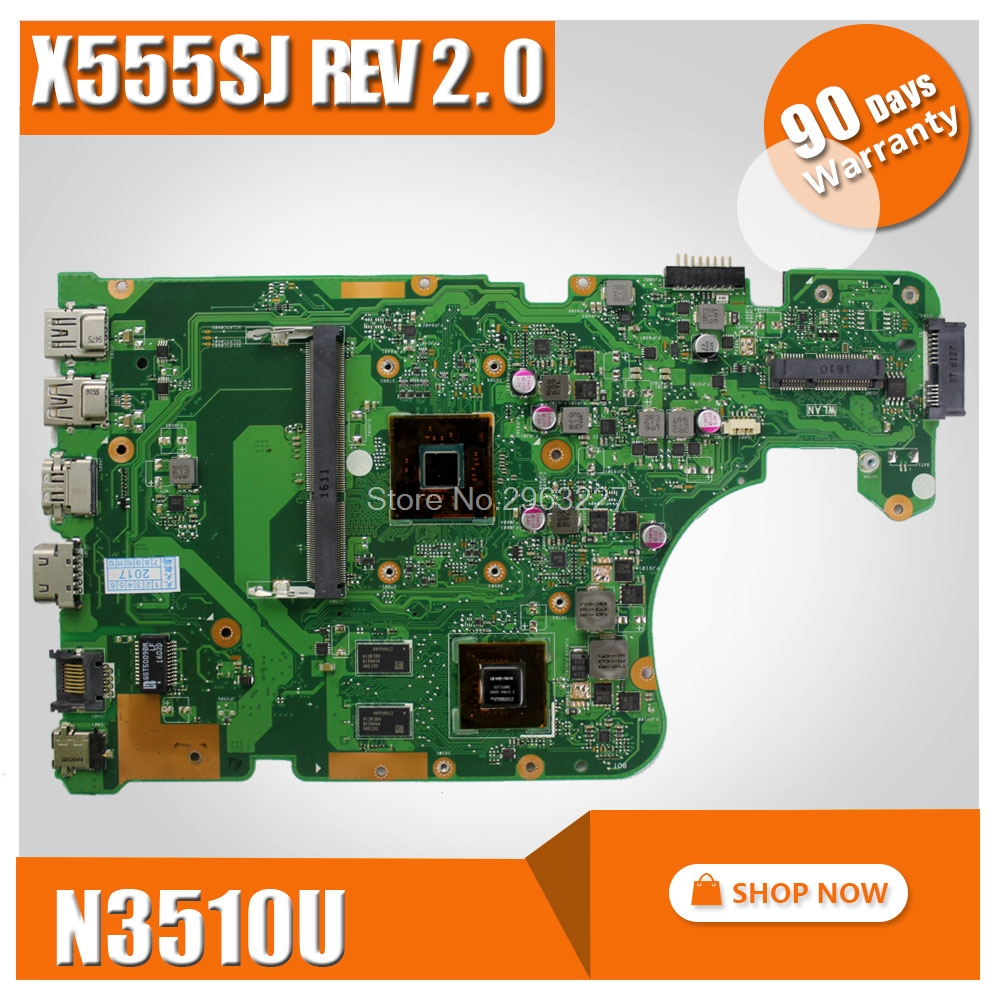 X555SJ Notebook Motherboard For ASUS X555 X555S X555SJ A555S Motherboard N3150 CPU Mainboard 100% Tested Well hot for asus x551ca laptop motherboard x551ca mainboard rev2 2 1007u 100% tested new motherboard