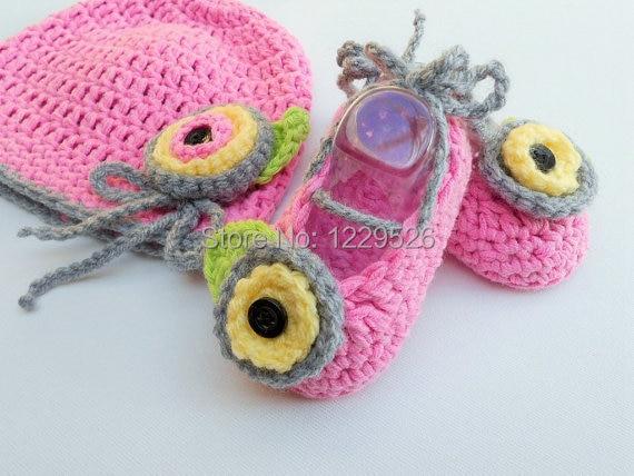 Mezgimo kūdikių rinkinys / nėrimo kūdikių skrybėlę batų - Kūdikių drabužiai - Nuotrauka 2