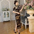 Free Shipping Long Qipao chinese Women's Charming Cheongsam Blend Cotton Evening Dress Velvet Modern Qipao