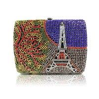 2017 luxury evening clutch bags red Handcraft crystal clutch purse golden diamante women party evening bags handbag shoulder bag
