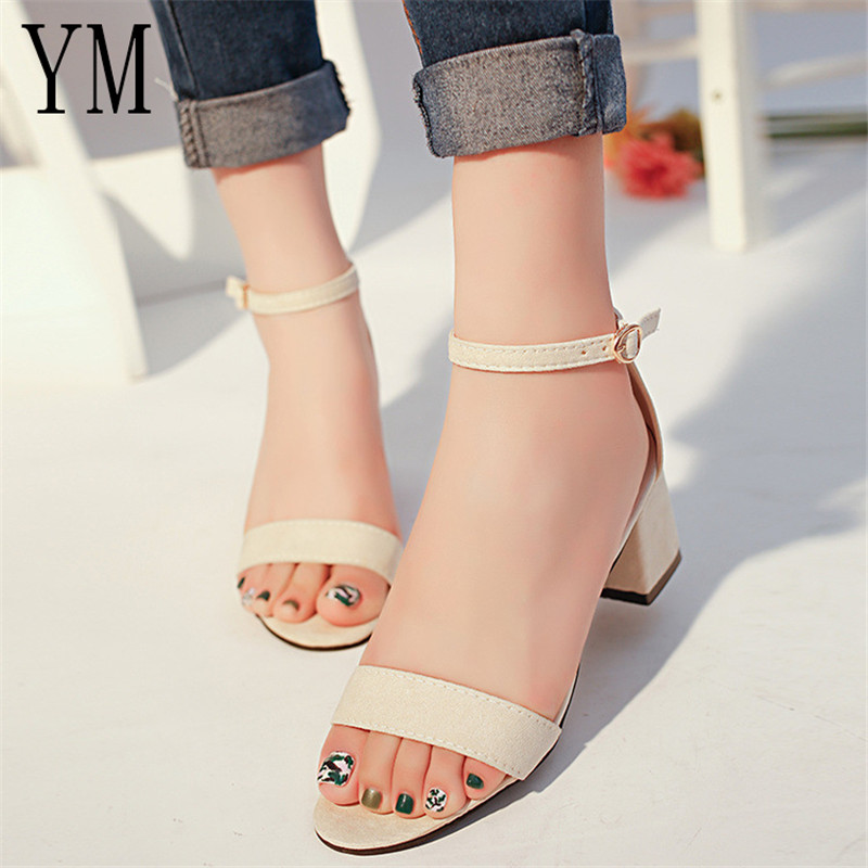 Best Cheap Anti-Season Summer Hollow Women Sandals Thick High Heel Ankle Strap Sandalias Mujer Fashion Sandal Female Party ShoesBest Cheap Anti-Season Summer Hollow Women Sandals Thick High Heel Ankle Strap Sandalias Mujer Fashion Sandal Female Party Shoes