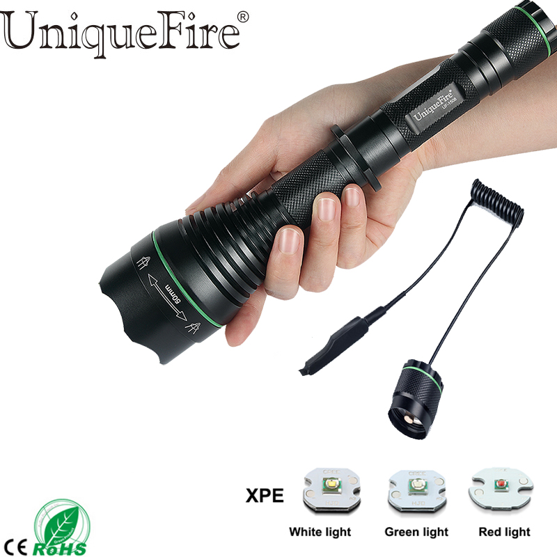 UniqueFire 1508 Cree XPE Green/Red/White Light 3 Modes 50mm lens Led Flashlight Zoomable Adjustable Lamp+Remote Pressure switch new uniquefire uf 1407 xre black zoomable led flashlight green red white light 5 mode 38mm lens portable camping lamp