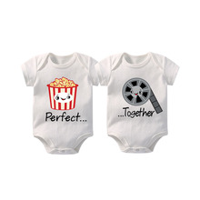 Baby 100%Cotton clothes twins baby custom best friend Gift Short Sleeved Outfit Vest Romper 0-12M Newborn