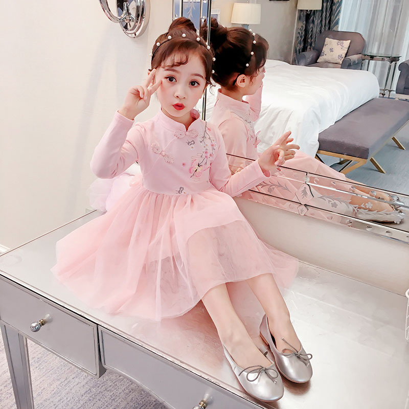 Floral Pattern Dress Baby Girls Long Sleeve Kids Cheongsam Princess Mesh Dresses