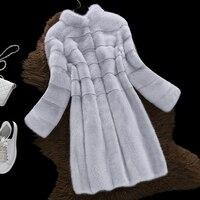 Long Fox fur Jacket Women 2018 New Winter Fashion Nine Quarter Sleeve O neck Warm Jackets Real Fur Coats