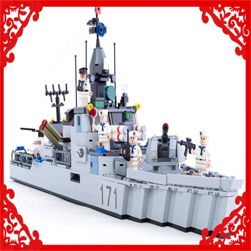 KAZI 8026 Building Blocks Military Marine Frigate 693Pcs Bricks DIY Figure  Toy Gifts For Children Compatible Legoe decool 3117 city creator 3 in 1 vacation getaways 613pcs bricks building blocks diy toy gifts for children compatible legoe