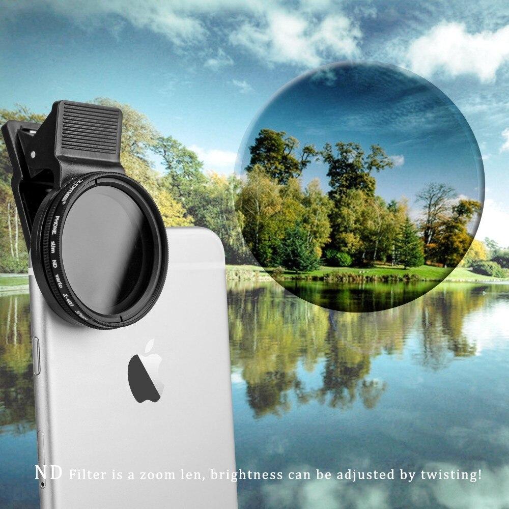 ZOMEI 37mm Téléphone portable Cam Objectif Professionnel ND Filtre Polarisant Circulaire ND2-ND400 pour iPhone/6/6 s plus Samsung