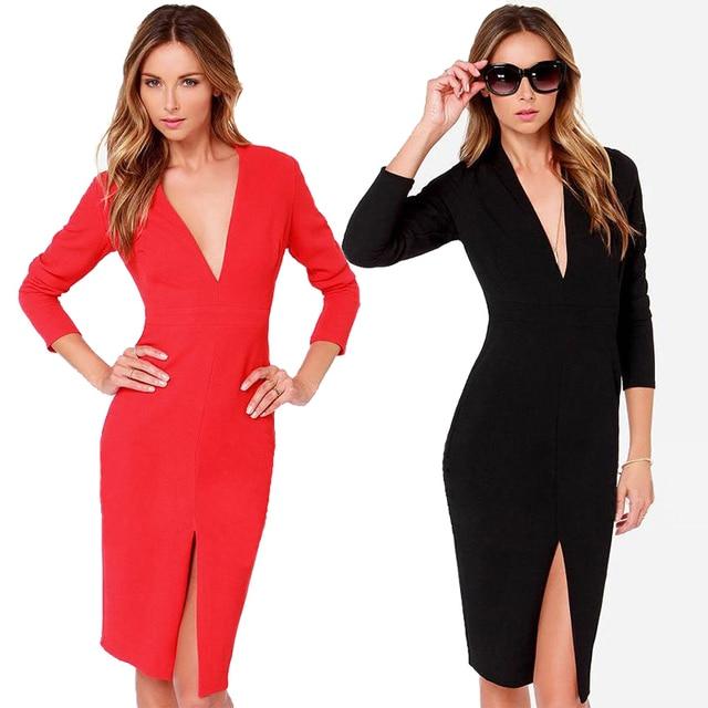 Hot sexy deep V neck slim black red sheath dress 3 4 sleeve split bodycon  dress with plus size abb42db89