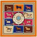 100% Sarga de Seda de la Marca Euro Francés Diseño de Diez Caballos Patrón Impreso Regalo de Las Mujeres Pañuelos De Seda Bufandas de la Marca Bufanda