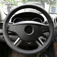 Shining wheat Black Leather Steering Wheel Cover for Mercedes Benz M Class ML350 ML500 2005 2006 GL Class GL450 2006 2009