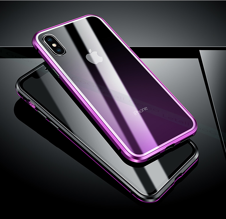 Magnetic Magnet clear  tempered glass Metal phone cover case 12