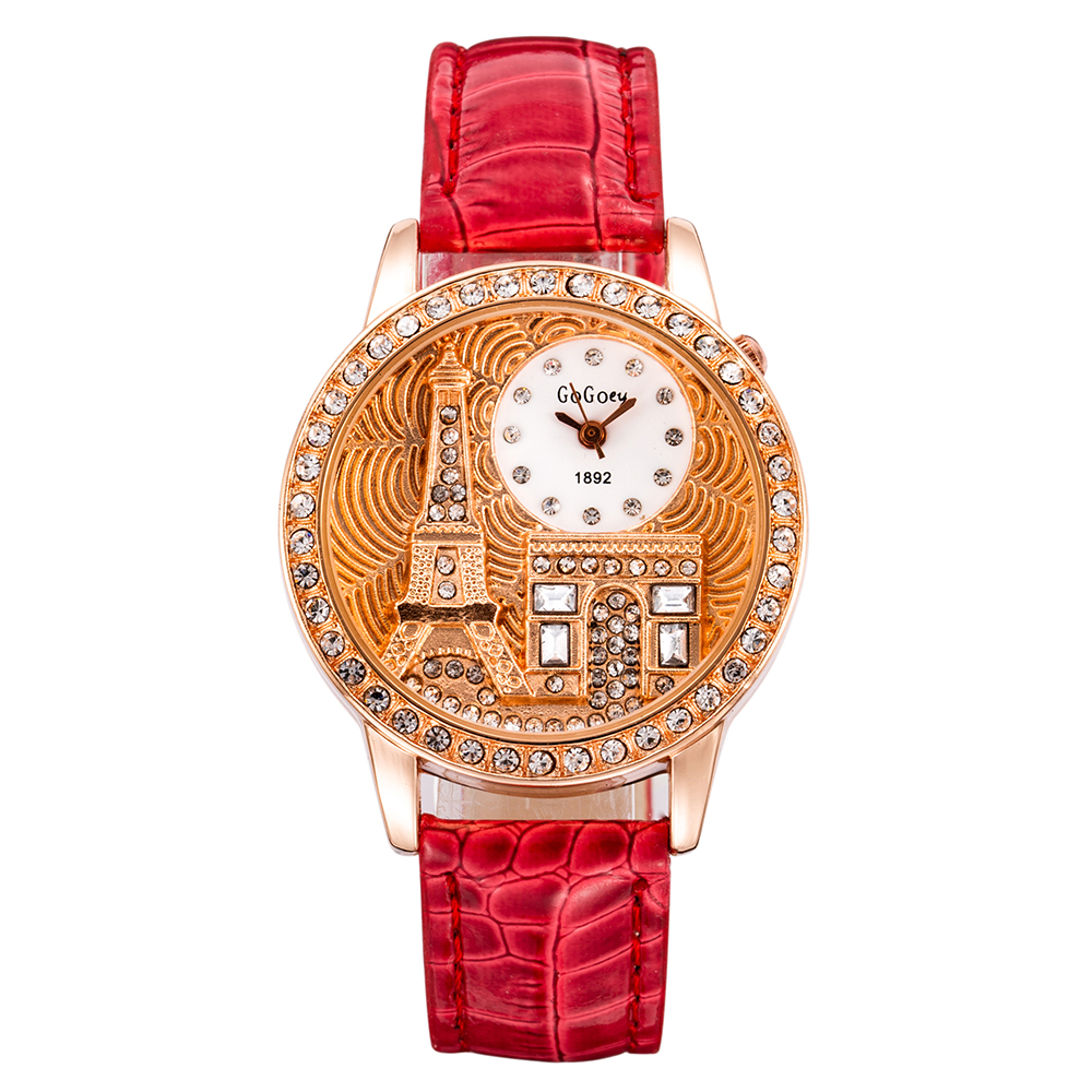 Luxury Watch Women Casual Relogio Feminino Rhinestone Paris Crystal Eiffel Tower Rose Leather Lady Dress Clock Montre Femme Saat