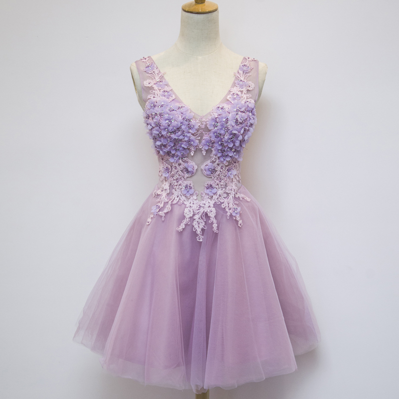 100% real ladies light purple violet floral embroidery beading cocktail dress princess ball party black tutu dress