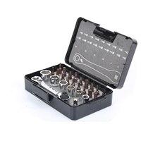25 IN 1 chiave a cricchetto bit set doppia Testa 72 Ingranaggi Spanner wrench manica set di cacciaviti kit di utensili a mano