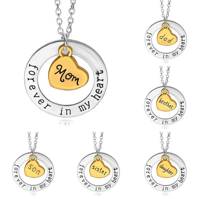 Hot mothers day gift mom dad forever in my heart necklace son hot mothers day gift mom dad forever in my heart necklace son daughter love heart pendant aloadofball Choice Image