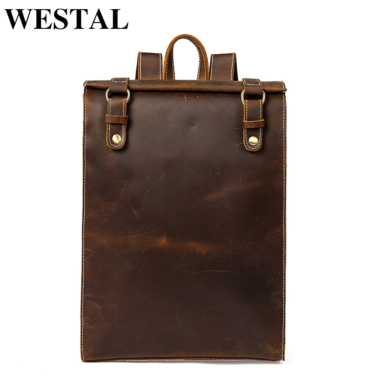 WESTAL Vintage Crazy Horse Leather Schoolbag Backpack Male Computer Rucksack Men Portable Backpack Man Travel Daypack