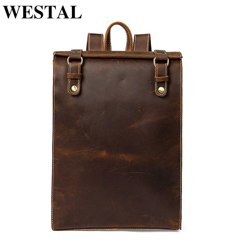 WESTAL ноутбук рюкзак Crazy Horse кожаная школьная сумка рюкзак для подростков компьютер рюкзак путешествия рюкзаки