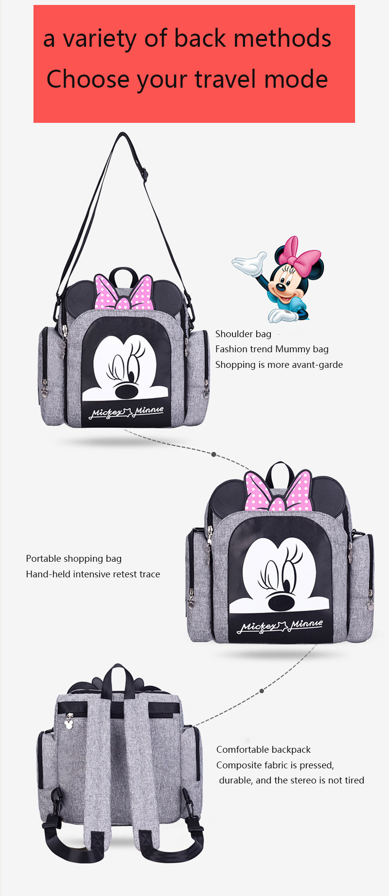 Disney Dining Chair Bag Multifunctional Diaper Bag 2020 New Stlye Waterproof Mother Handbag Nappy Backpack Travel Mummy Bags