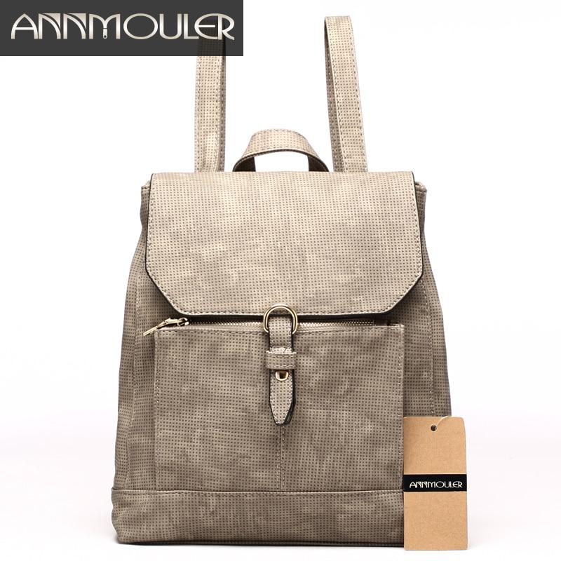 Annmouler 여자 패션 배낭 고품질의 가죽 배낭 새로운 디자인 캐쥬얼 데이 팟 큰 어깨 가방 학교 가방 소녀를위한
