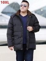 new winter XL add fertilizer 12XL 11XL big yards long down jacket big size detachable cap black fat thin clothes plus size 8XL