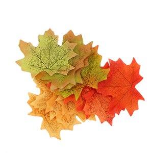 Image 4 - Top Verkoop Oranje/Groen/Geel 100 Stks/set Kunstmatige Maple Leaf Garland Zijde Herfst Fall Bladeren Voor Bruiloft Tuin decor