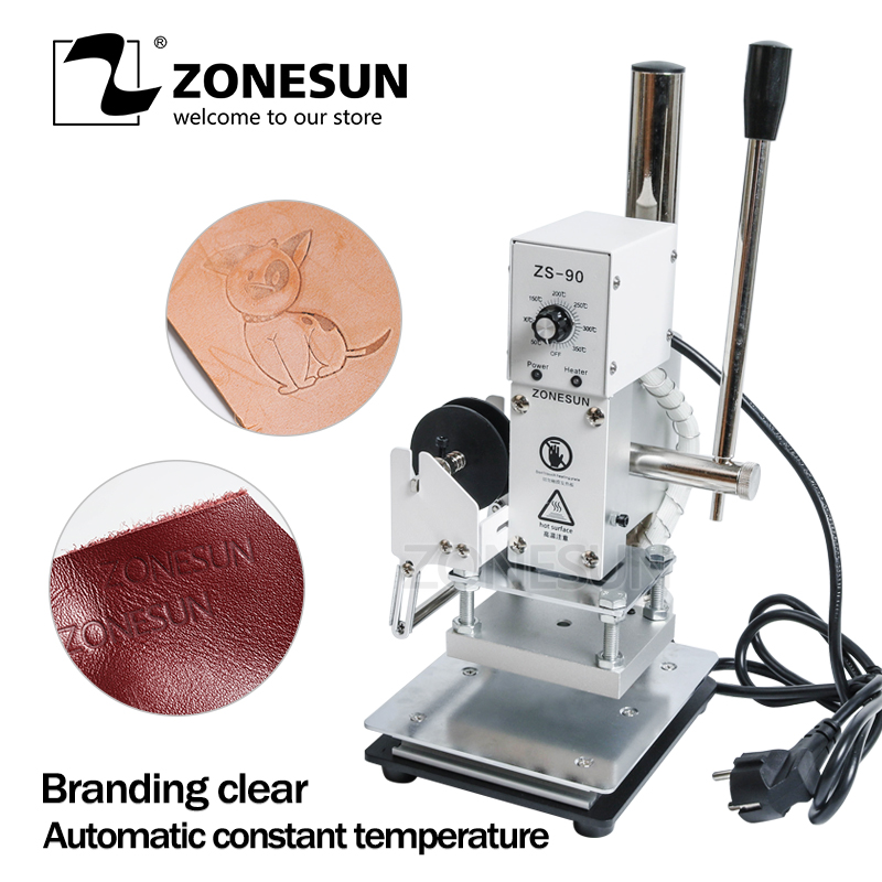 ZONESUN 1PC 110V/220V Manual Hot Foil Stamping Marking Machine Leather PVC Printer With Temperature Control цена