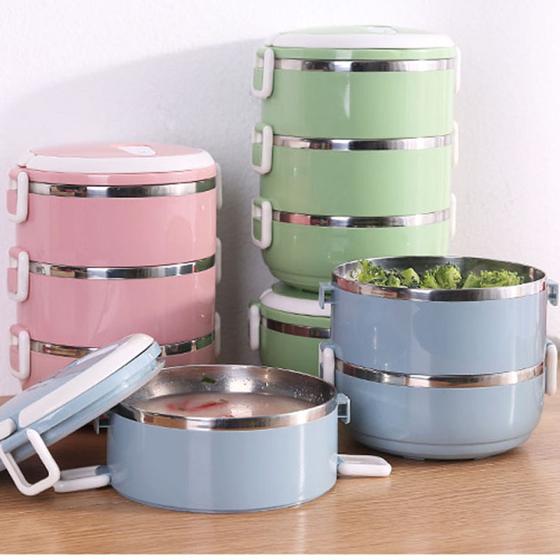 050 Multifunction2 3 Layer Stainless Steel Bento Lunch Box Insulation Food Containers Stainless steel warming box lunch box in Dinnerware Sets from Home Garden