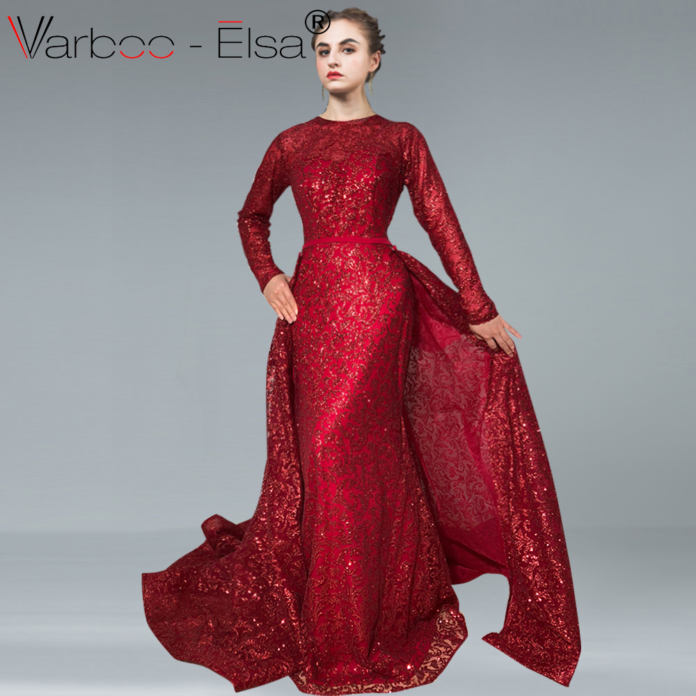 VARBOO ELSA Bling Bling Red Sequin Evening Dresses 2018 Real Photo Long Evening  Dresses V neck Ball Gown Party Dress Custom Made 7939caf8b781