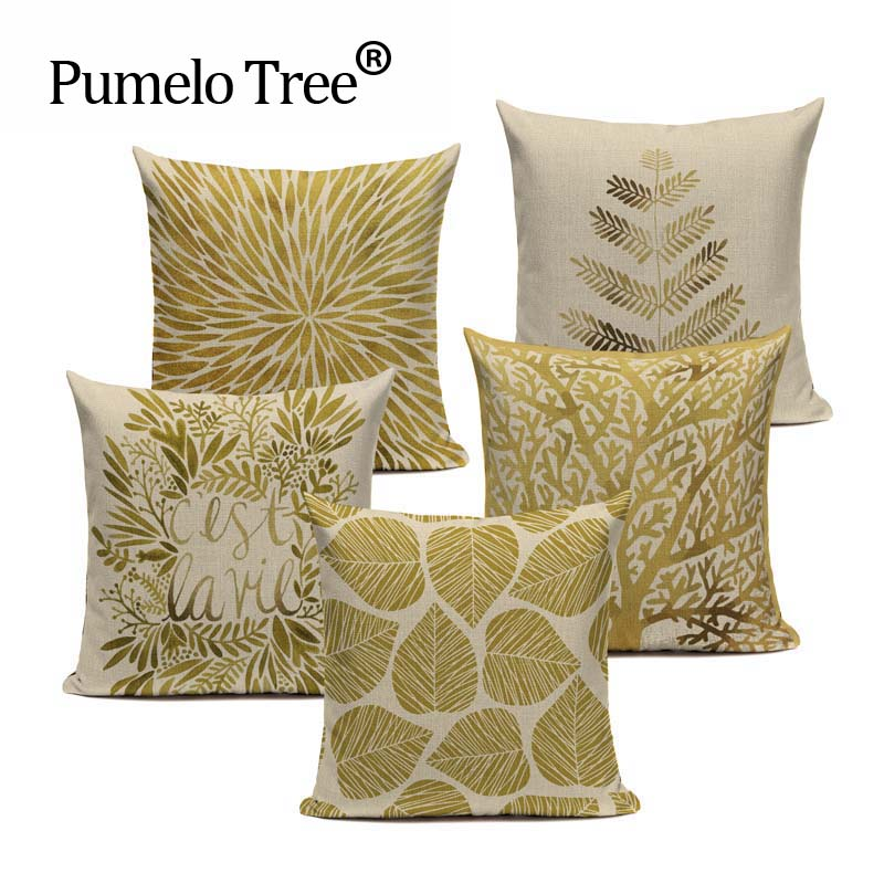 Modern Gold Pillows : Decorative throw pillows cover Modern simple pillow Popper geometry plant noble gold trees leaf ...