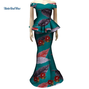 African Applique Flower Top and Skirts Sets for Women Bazin Riche Traditional African Women Clothing 2 Pieces Skirts Sets WY4028