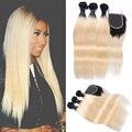 8A T1b/613 Dois Tons de Tecer Cabelo Com Feixes Brasileiro Virgem ombre cabelo humano 613 loira pacotes com lace closure reta cabelo
