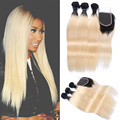 8A T1b/613 Two Tone Hair Weave With Bundles Brazilian Virgin Human Hair Ombre 613 Blonde Bundles With Lace Closure Straight Hair